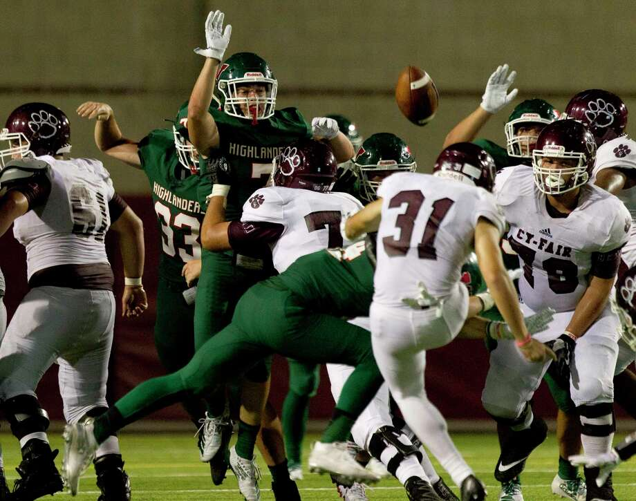 The Woodlands blocks a field goal by Cy-Fair kicker Jake Ruiz during the fourth quarter of a non-district high school football game at Woodforest Bank Stadium, Saturday, Aug. 31, 2019, in Shenandoah. Photo: Jason Fochtman, Houston Chronicle / Staff Photographer / Houston Chronicle