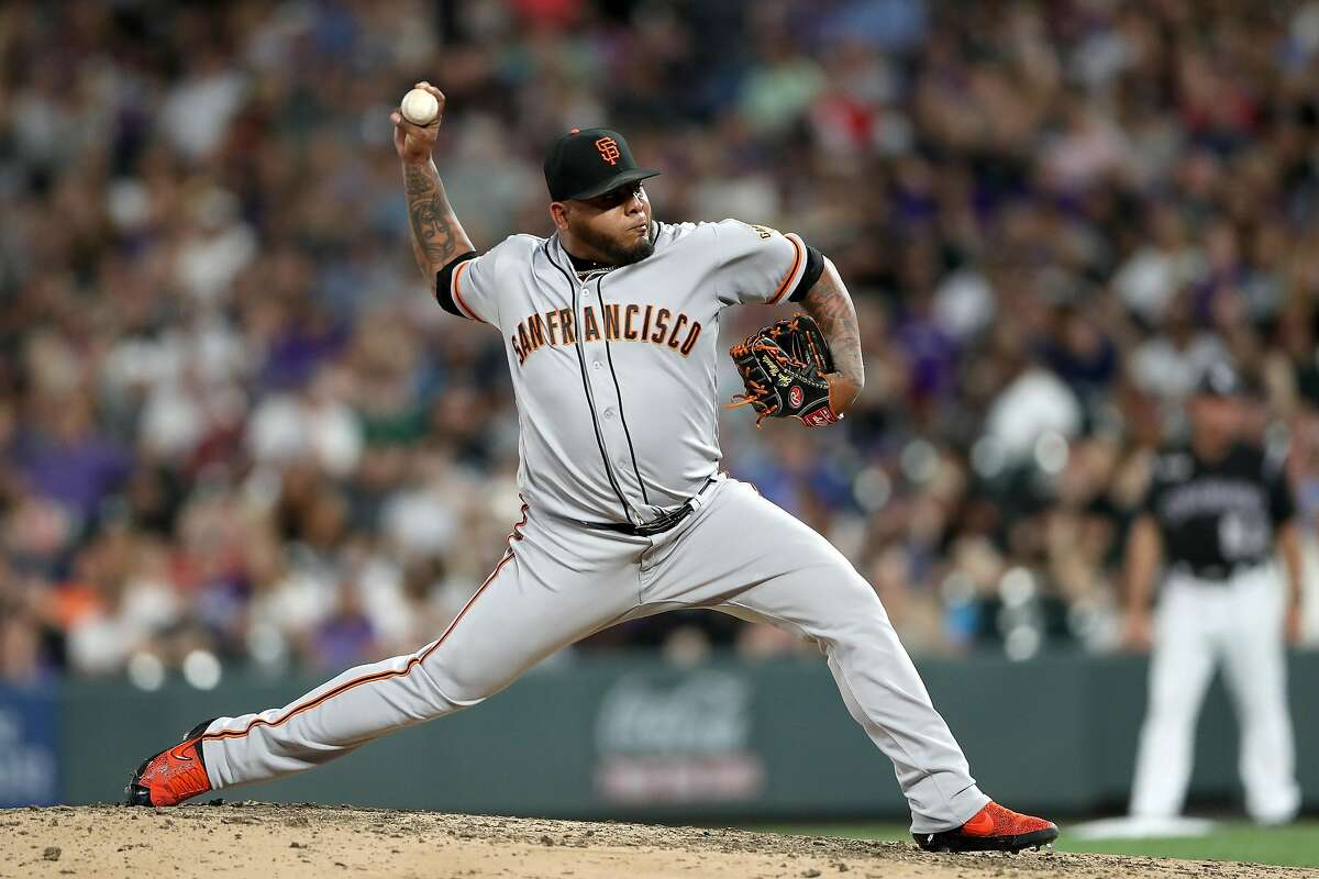 DENVER, COLORADO - AUGUST 02: Pitcher Reyes Moronta #54 of the San Francisco Giants throws in the seventh inning against the Colorado Rockies at Coors Field on August 02, 2019 in Denver, Colorado. (Photo by Matthew Stockman/Getty Images)