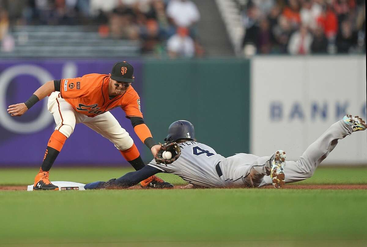 SAN FRANCISCO, CA - AUGUST 30: Wil Myers #4 of the San Diego Padres steals second base ahead of the throw to Mauricio Dubon #19 of the San Francisco Giants in the top of the first inning at Oracle Park on August 30, 2019 in San Francisco, California. (Photo by Thearon W. Henderson/Getty Images)