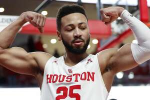 Houston guard Galen Robinson Jr. (25) flexes after scoring and getting fouled on the play during the second half of an NCAA basketball game at Fertitta Center on Thursday, March 7, 2019, in Houston.