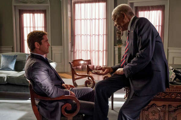 "Gerard Butler, left, and Morgan Freeman in ""Angel Has Fallen,"" directed by Ric Roman Waugh."
