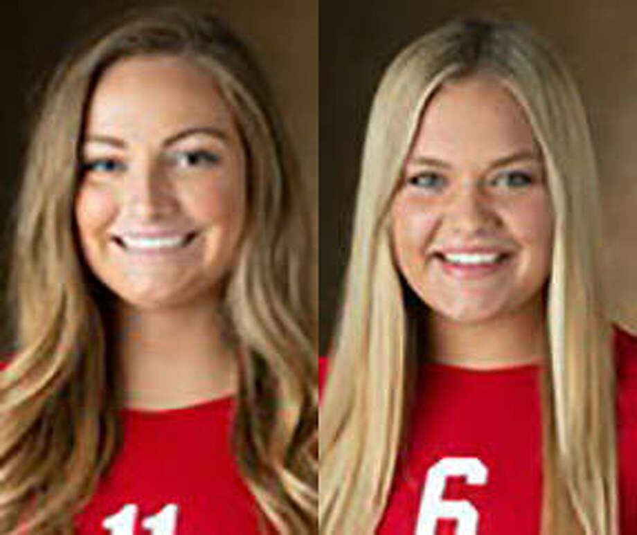 SIUE's Rachel McDonald (left) and Dylynn Otte were named all-tourney at the Northern Illinois Tournament.