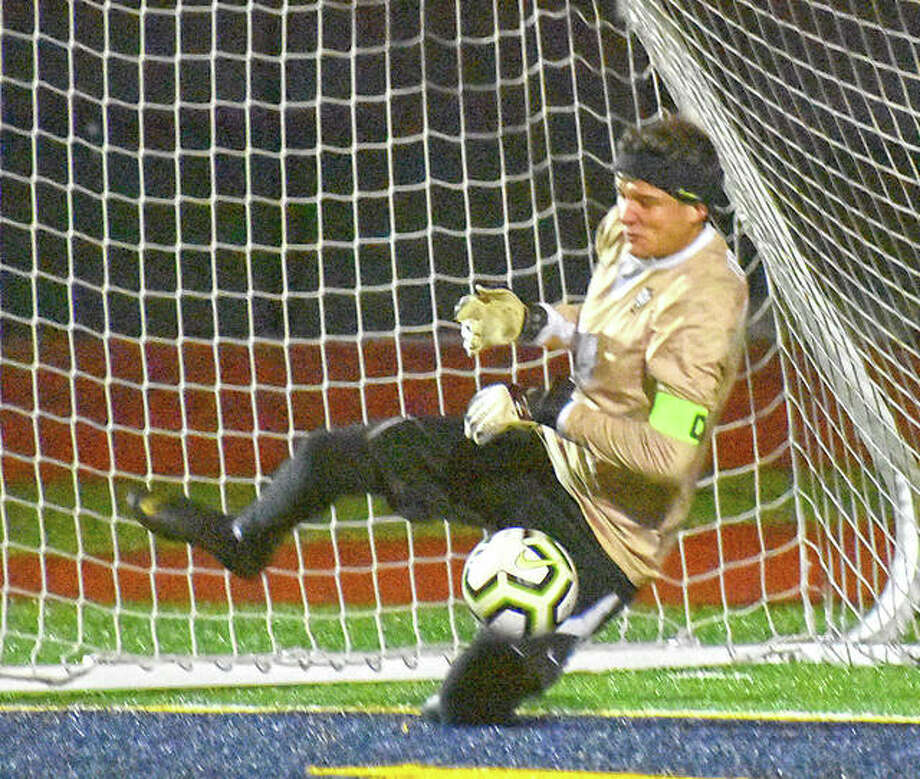 FMCHS keeper Jackson Podshadley makes the final save in PKs to secure a 2-1 win for the Griffins in the championship game of the Metro Cup. Photo: Matt Kamp|The Intelligencer