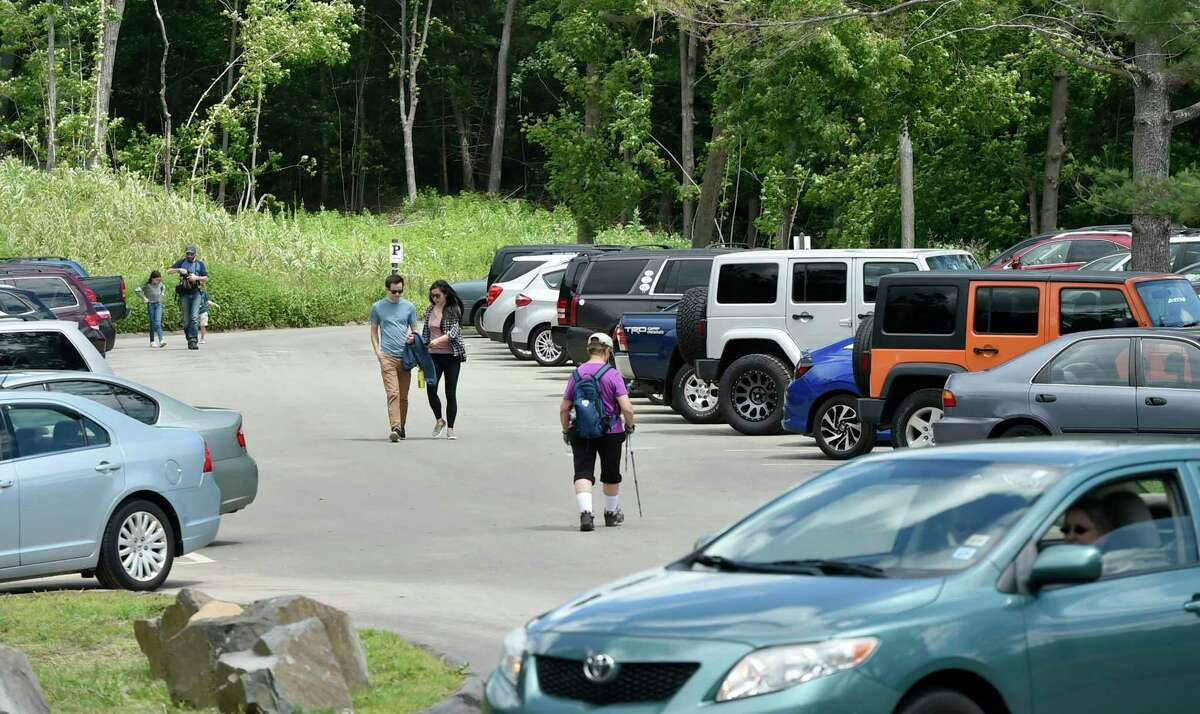 File photo of the parking lot at Sleeping Giant State Park