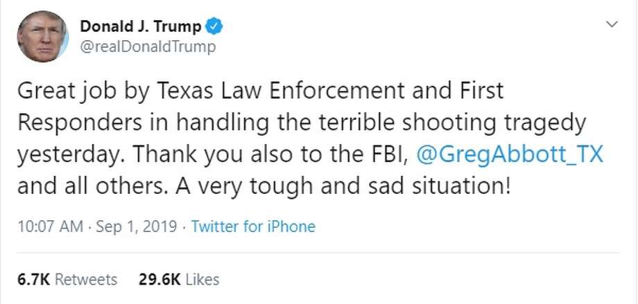 A screenshot of U.S. President Donald Trump's response to Saturday's mass shooting in Odessa-Midland, Texas. Photo: File/Twitter