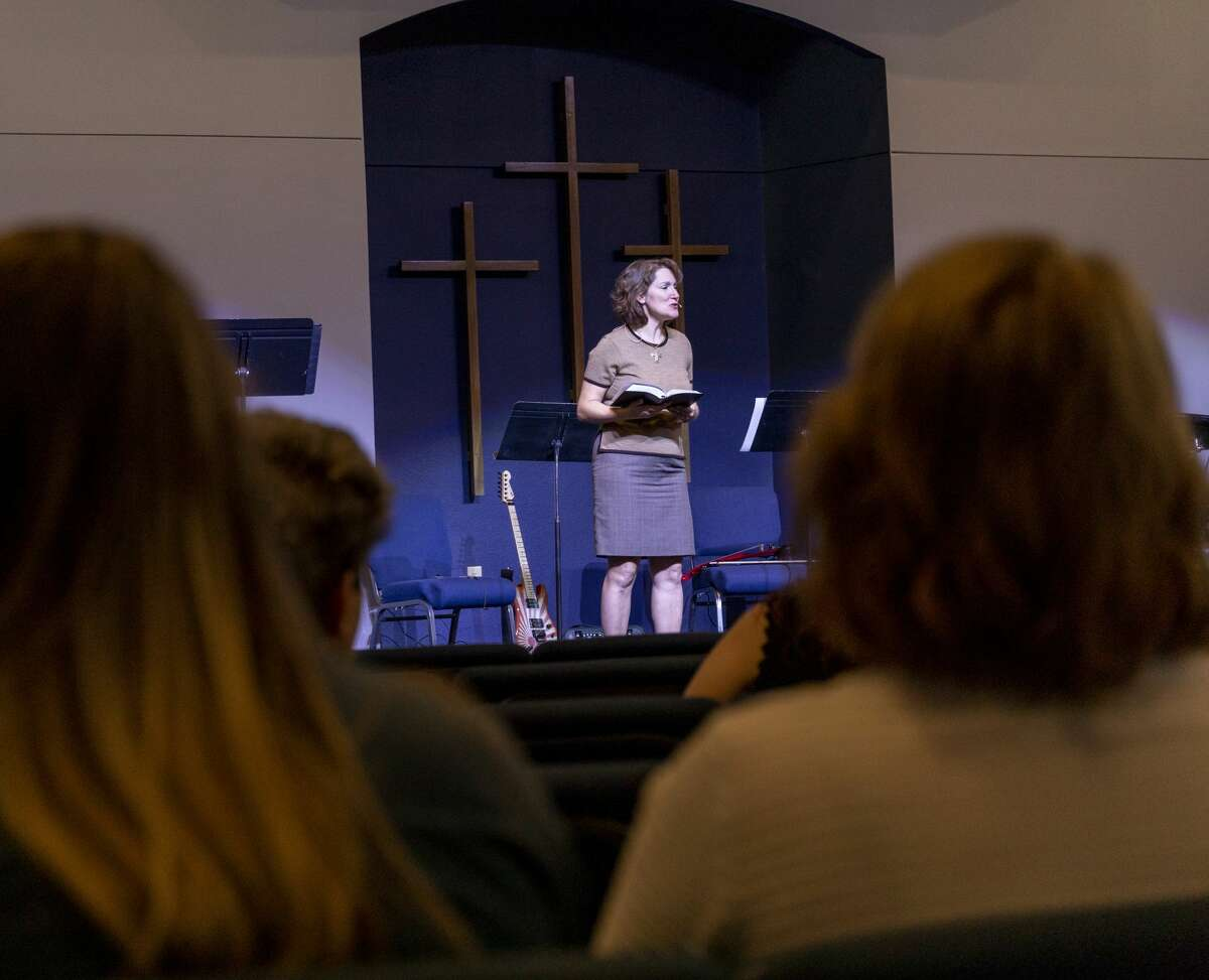 Co-pastor Dawn Weaks talks about the shooting --occurred yesterday -- during service Sunday, Sept. 1, 2019, at the Connection Christian Church Odessa. Jacy Lewis/Reporter-Telegram