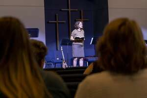 Co-pastor Dawn Weaks talks about the tragedy that has struck the community yesterday during service Sunday, Sept. 1, 2019 at the Connection Christian Church Odessa.  Jacy Lewis/Reporter-Telegram