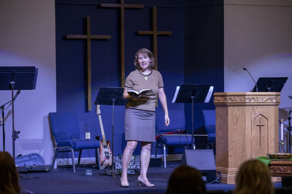 Co-pastor Dawn Weaks talks about the shooting -- that occurred yesterday -- during service Sunday, Sept. 1, 2019 at the Connection Christian Church Odessa. Jacy Lewis/Reporter-Telegram