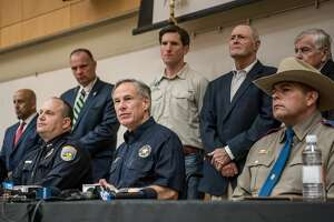 ODESSA, TX - SEPTEMBER 1:  Texas Gov. Greg Abbott (C) holds a press conference with local and federal law enforcement at the University of Texas of the Permian Basin (UTPB) following a deadly shooting spree on September 1, 2019 in Odessa, Texas. Seven people had been killed, in addition to the gunman and at least 21 others were wounded, including three law enforcement officers after a gunman went on a rampage. The man who has not been identified fled from state troopers who had tried to pull him over. The gunman then hijacked a United States postal van and indiscriminately fired from a rifle at people before the authorities shot and killed him outside a movie theater in Odessa. (Photo by Cengiz Yar/Getty Images)