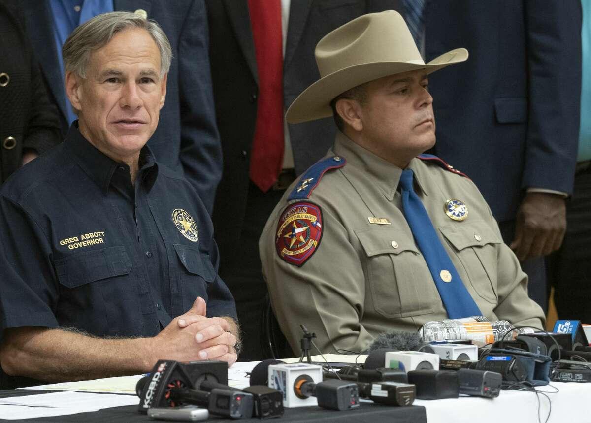 Texas Gov Greg Abbott along with DPS Regional Director Orlando Alanis speak 09/01/19 during a press conference at UTPB. Tim Fischer/Reporter-Telegram