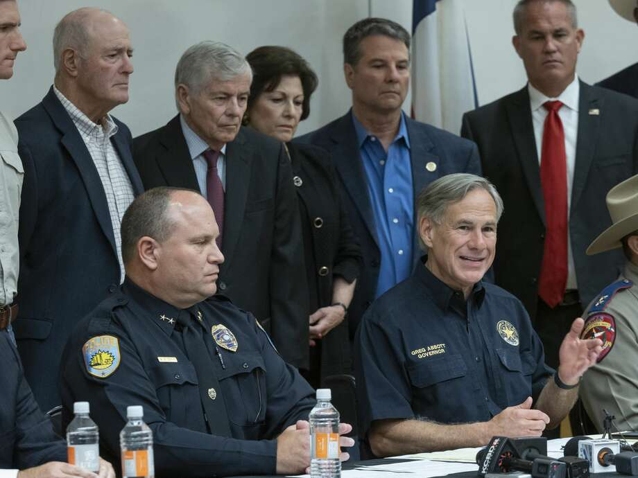 Odessa Police Chief Michael Gerke along with Gov Greg Abbott answer questions 09/01/19 during a press conference at UTPB. Tim Fischer/Reporter-Telegram Photo: Tim Fischer/Midland Reporter-Telegram