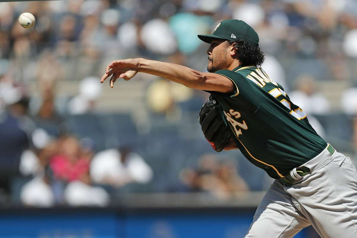 Oakland Athletics starting pitcher Sean Manaea, pitching for the first time in several months after a stint on the IL, delivers during the first inning of a baseball game against the New York Yankees, Sunday, Sept. 1, 2019, in New York. (AP Photo/Kathy Willens)