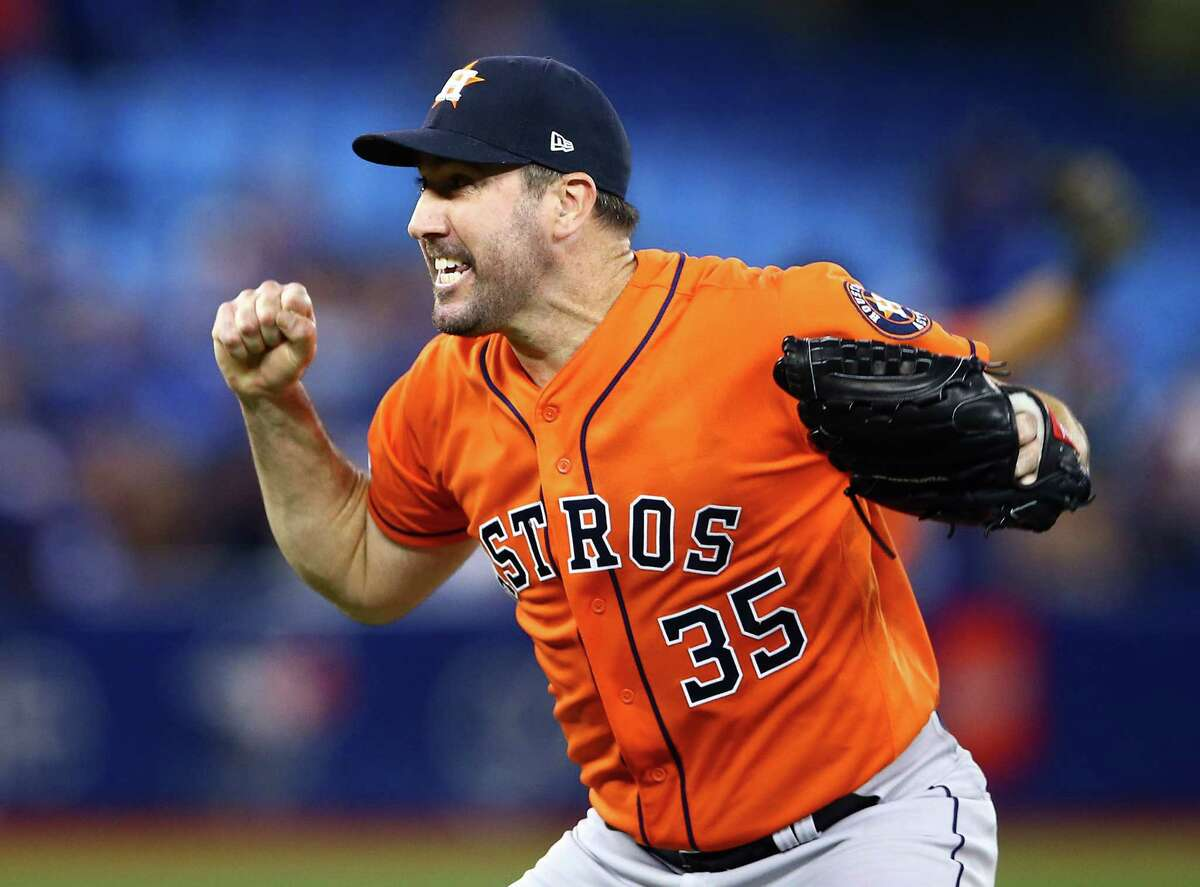 TORONTO, ON - SEPTEMBER 01: Justin Verlander #35 of the Houston Astros reacts after throwing a no hitter at the end of the ninth inning during a MLB game against the Toronto Blue Jays at Rogers Centre on September 01, 2019 in Toronto, Canada.
