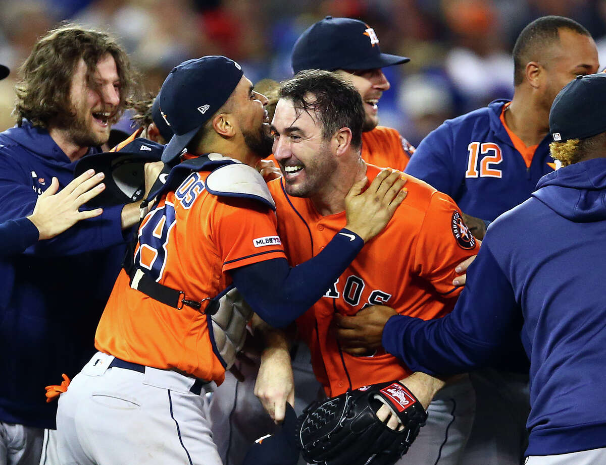 TORONTO, ON - SEPTEMBER 01: Justin Verlander #35 of the Houston Astros celebrates with teammates after throwing a no hitter at the end of the ninth inning during a MLB game against the Toronto Blue Jays at Rogers Centre on September 01, 2019 in Toronto, Canada.