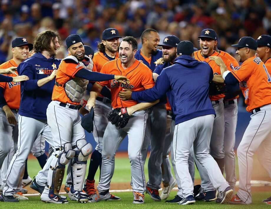 PHOTOS: Who all has thrown a no-hitter in Astros history? Justin Verlander of the Houston Astros celebrates with teammates after throwing a no-hitter against the Toronto Blue Jays at Rogers Centre on September 01, 2019 in Toronto, Canada. Browse through the photos above for a look back at all 13 no-hitters in Astros franchise history ... Photo: Vaughn Ridley, Getty Images / 2019 Getty Images