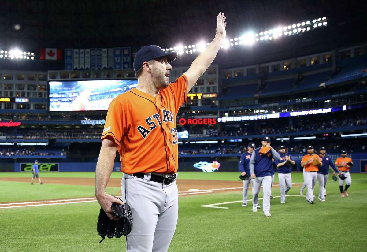 TORONTO, ON - SEPTEMBER 01: Justin Verlander #35 of the Houston Astros celebrates after throwing a no hitter at the end of the ninth inning during a MLB game against the Toronto Blue Jays at Rogers Centre on September 01, 2019 in Toronto, Canada.