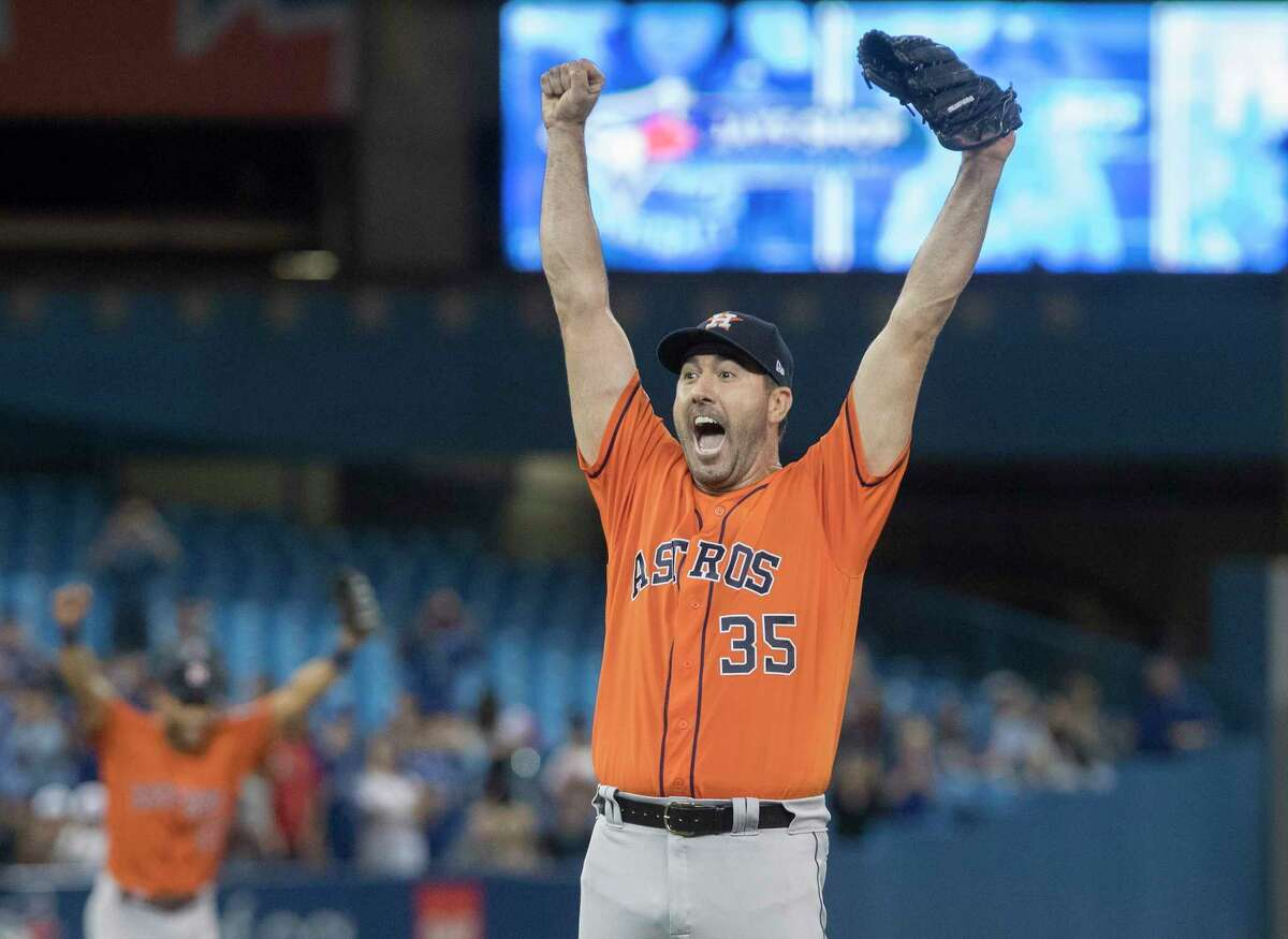 Houston Astros starter Justin Verlander reacts after pitching a no-hitter against the Toronto Blue Jays in a baseball game in Toronto, Sunday, Sept. 1, 2019. (Fred Thornhill/The Canadian Press via AP)