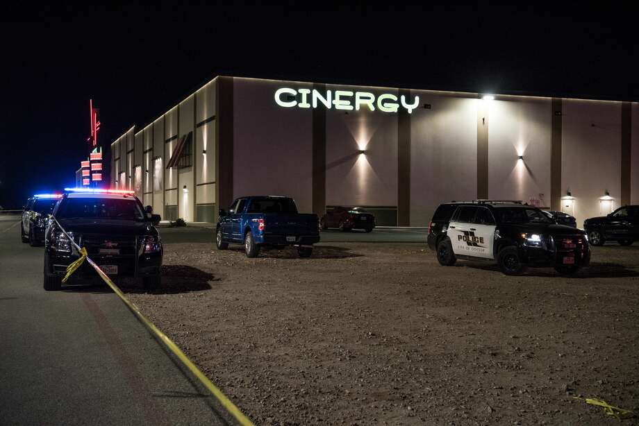 MIDLAND, TEXAS - AUGUST 31: Police cars and tape block off a crime scene where a gunman was shot and killed at Cinergy Odessa movie theater on August 31, 2019 in Midland, Texas. Officials say the unidentified suspect killed 5 people and injured 21 in a mass shooting in Midland and nearby Odessa. (Photo by Cengiz Yar/Getty Images) Photo: Cengiz Yar/Getty Images