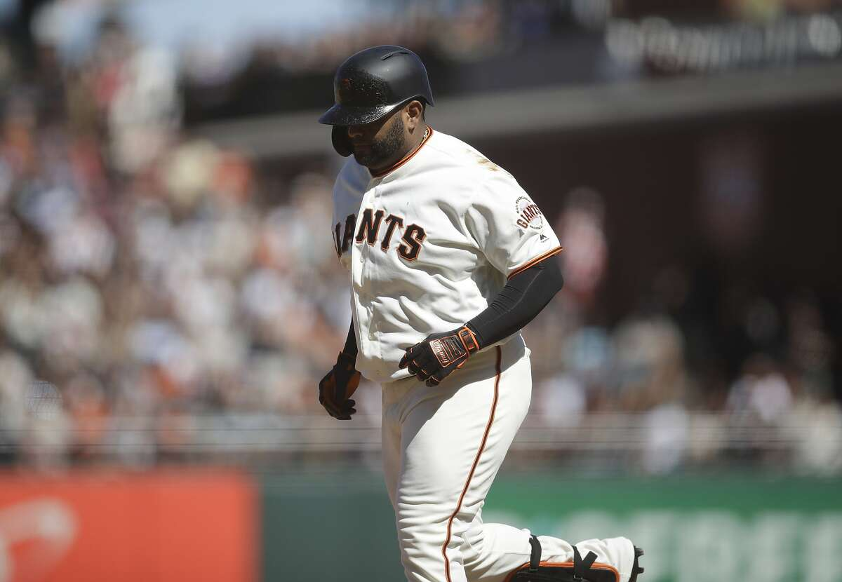 San Francisco Giants' Pablo Sandoval runs off the field after grounding out in the seventh inning of a baseball game against the San Diego Padres Sunday, Sept. 1, 2019, in San Francisco. (AP Photo/Ben Margot)