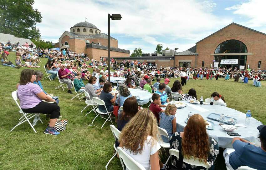 Orange, Connecticut - Sunday, September 1, 2019: St. Barbara Greek Orthodox Church 39th Annual Greek Festival Odyssey 2019 Sunday in Orange. The Labor Day weekend 4-day event of Hellenic traditions include all types of Greek culinary delights cooked on the festival grounds, Greek dancing and dance lessons, music, Greek cooking demonstrations, a gourmet Greek grocery, presentations on Greek Orthodoxy, a tag sale, children's activities rides, games and magic shows.