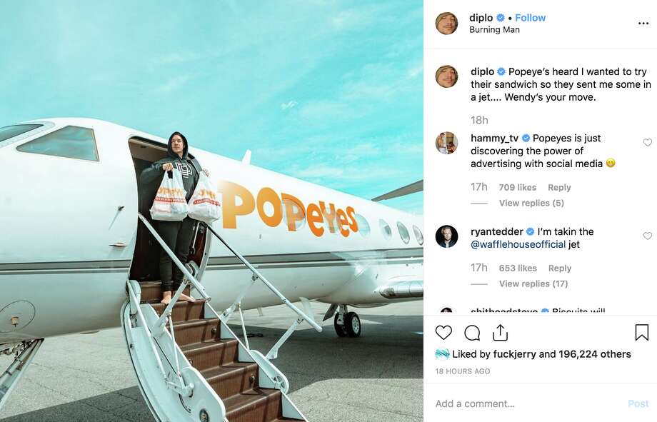 Electronic DJ Diplo arrived on trend in a Popeyes plane. Photo: @diplo Via Instagram