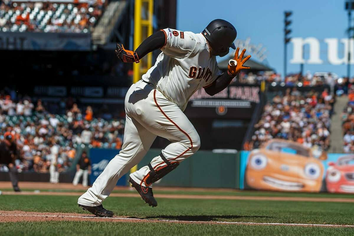 SAN FRANCISCO, CA - SEPTEMBER 01: Pablo Sandoval #48 of the San Francisco Giants runs to first base after hitting a ground ball against the San Diego Padres during the seventh inning at Oracle Park on September 1, 2019 in San Francisco, California. The San Diego Padres defeated the San Francisco Giants 8-4. (Photo by Jason O. Watson/Getty Images)