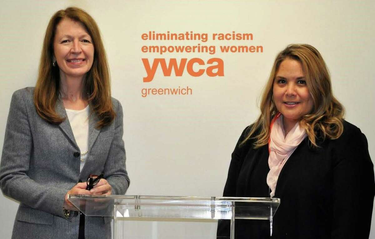 Mary Lee Kiernan, president and chief executive officer of the YWCA Greenwich, with Meredith Gold, director of domestic abuse services at the YWCA Greenwich, the town's provider of domestic abuse services.