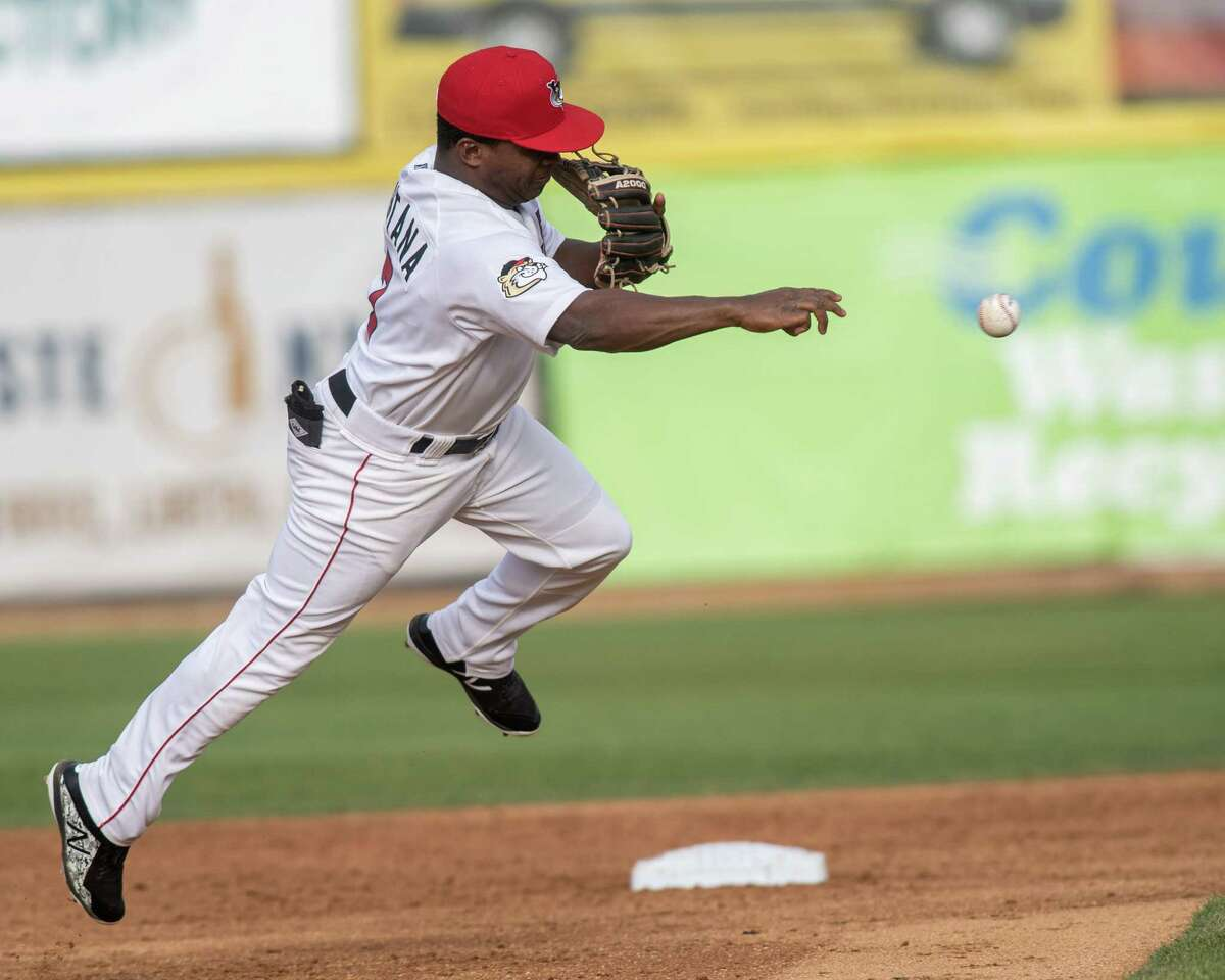 Tri-City ValleyCats second baseman Luis Santana makes a play against the Vermont Lake Monsters on Sunday, Sept. 1, 2019 at the Joseph L. Bruno Stadium in Troy, NY (Jim Franco/Special to the Times Union.)