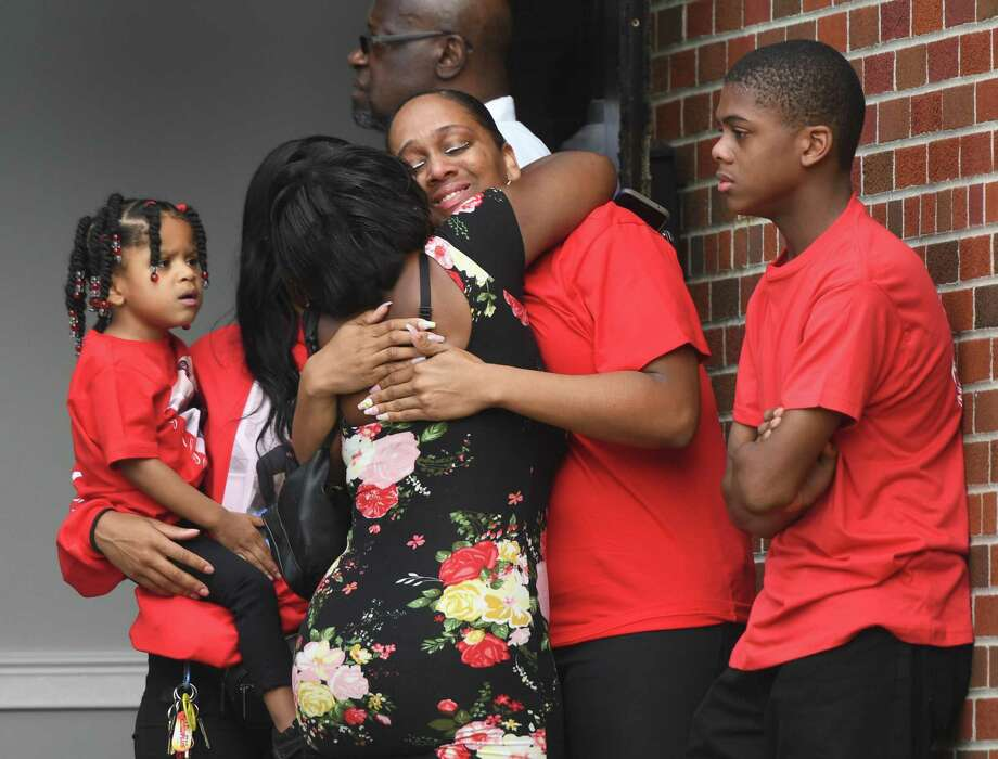 Friends and family of Ky-Mani Antoine-Pollack attend his funeral service at Bethel AME Church in Stamford on Sunday. Antoine-Pollack, a 19-year-old Stamford High School graduate, died in a car accident on Canal Street in the early morning hours of Aug. 26. The car crash also killed 18-year-old Nishawn Tolliver and sent four others to the hospital. Photo: Tyler Sizemore / Hearst Connecticut Media / Greenwich Time