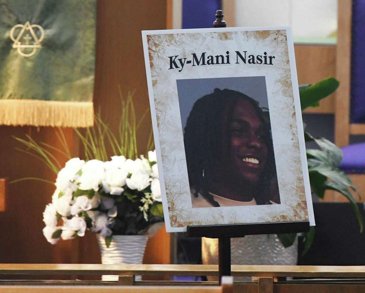 Friends and family of Ky-Mani Antoine-Pollack attend his funeral service at Bethel AME Church in Stamford, Conn. Sunday, Sept. 1, 2019. Antoine-Pollack, a 19-year-old Stamford High School graduate, died in a car accident on Canal Street in the early morning hours of Aug. 26. The car crash also killed 18-year-old Nishawn Tolliver and sent four others to the hospital.