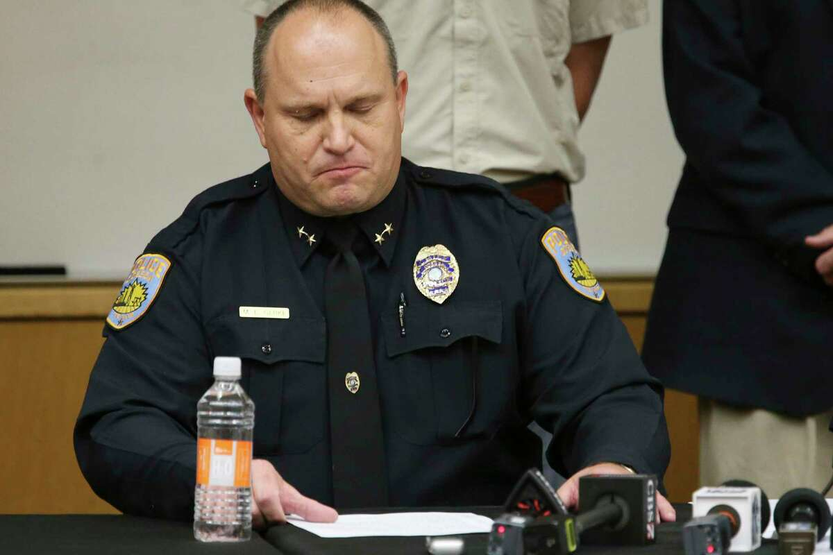 Odessa Police Department Chief Michael Gerke pauses as he reads a statement on the mass shootings during a press conference at the University of Texas of the Permian Basin, Sunday, Sept. 1, 2019. Seth Aaron Ator, 36, of Odessa, is suspected of killing seven people an injuring 19 in a shooting spree on Saturday.