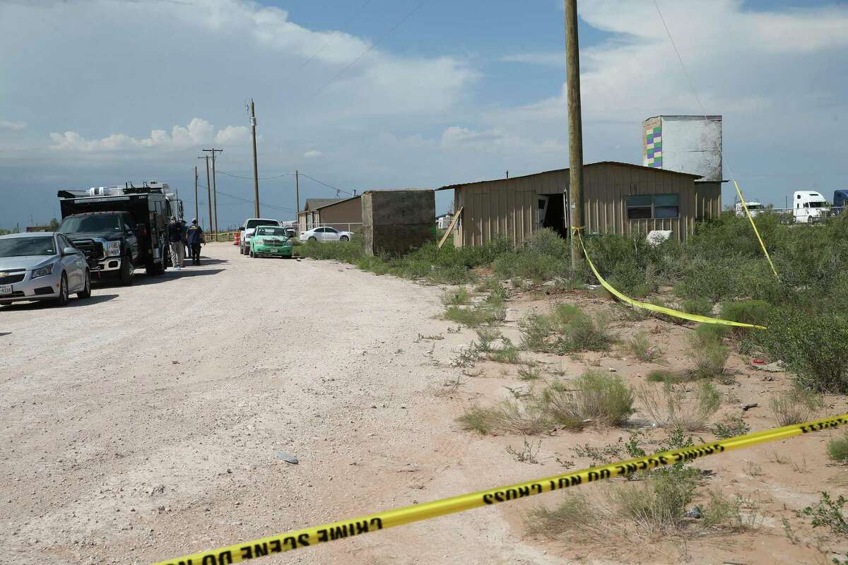 Law enforcement investigators conducted a search of a property in West Odessa, Texas, Sunday, Sept. 1, 2019. Seth Aaron Ator, 36, of Odessa, is suspected of killing seven people an injuring 19 in a shooting spree in Odessa on Saturday. Before the rampage, Ator was stop along IH-10 between Odessa and Midland by a Texas Department of Public Safety trooper for a traffic violation.
