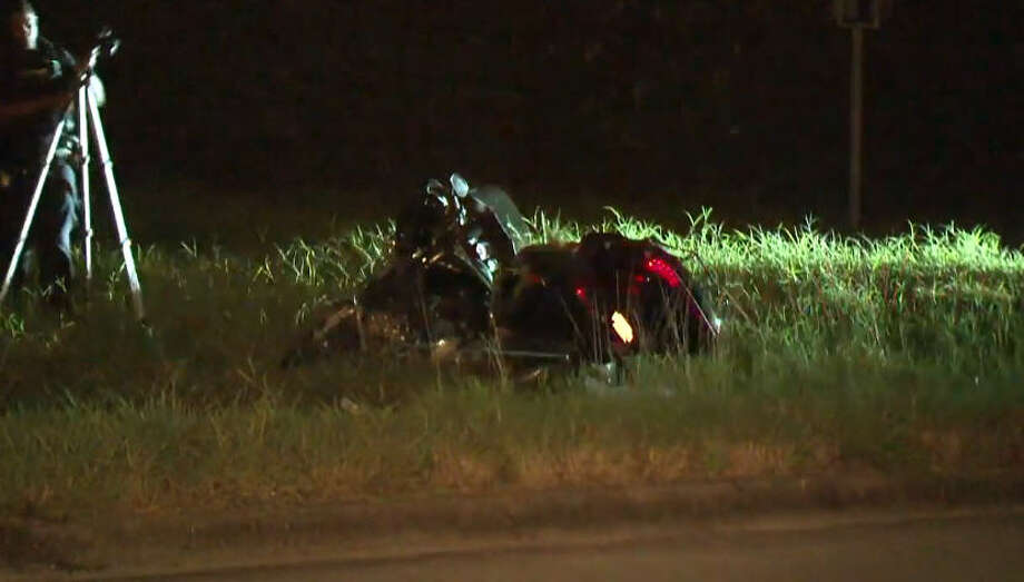 A motorcycle rider was hospitalized early Monday after crashing his bike on Conklin. Photo: Metro Video