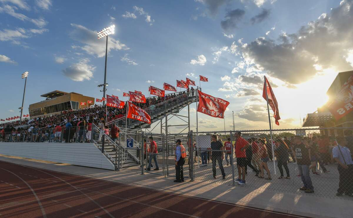 Nixon High School and Martin High School fans head out to Shirley Field to watch the Hammer Bowl rivalry game, Friday, Aug. 30, 2019.