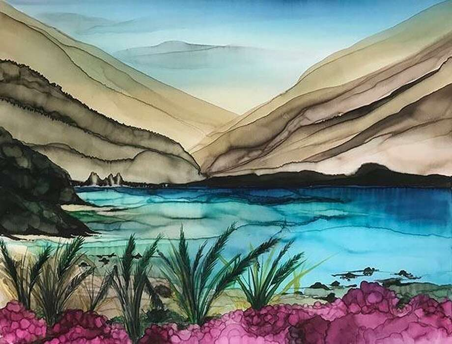 Tranquil Cove, by Jim Cusomano, is a work on silk that will be on display as part of the Silk Painters International exhibition at Wilton Library, opening Sept. 6. Photo: Contributed Photo / Wilton Library / Wilton Bulletin Contributed