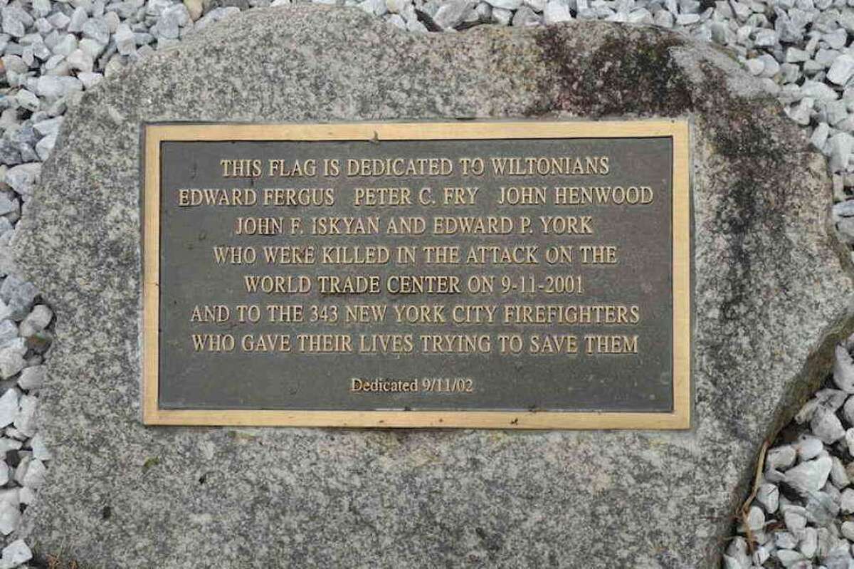 The memorial at Wilton Fire Department headquarters honors Wilton residents who died in the attacks of Sept. 11, 2001, and the firefighters who perished trying to save them. This year's remembrance will not take place due to the pandemic.