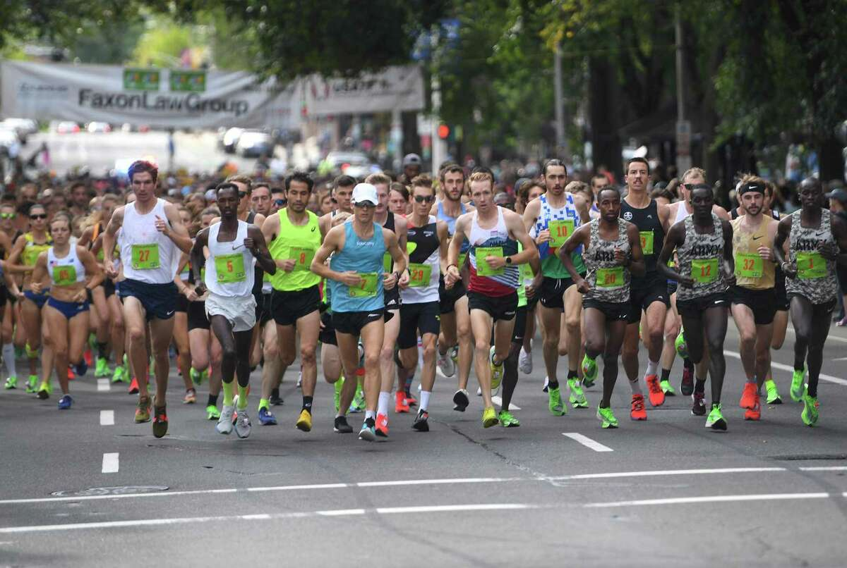 The start of the 2019 Faxon Law New Haven Road Race in New Haven. This year's race will be held as a virtual event.