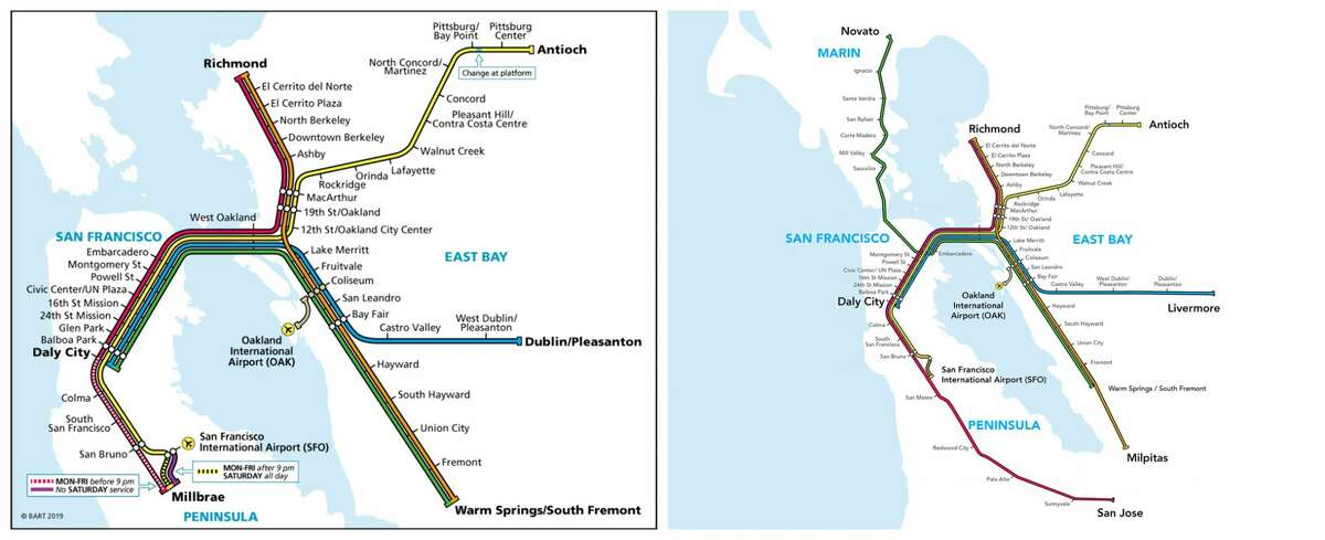BART map 2019 (left) compared to the proposed BART map