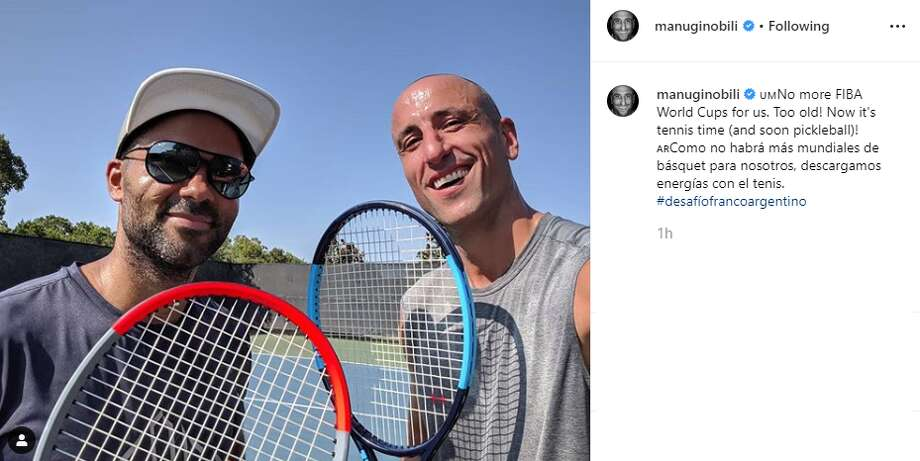 """No more FIBA World Cups for us. Too old! Now it's tennis time (and soon pickleball)!,"" retired Spur Manu Ginobili captioned this Instagram post. Photo: Instagram Screengrab"