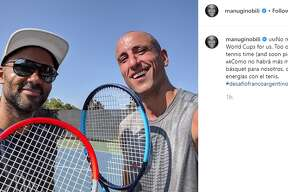 """""""No more FIBA World Cups for us. Too old! Now it's tennis time (and soon pickleball)!,"""" retired Spur Manu Ginobili captioned this Instagram post."""