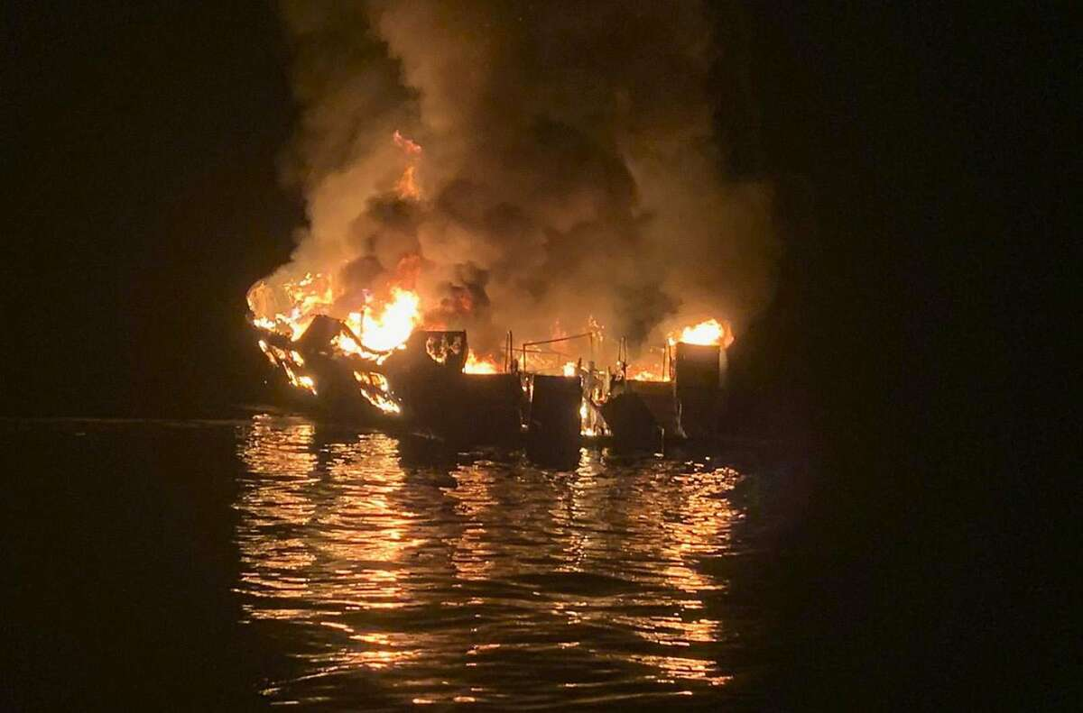 A boat caught fire off the Ventura County coast Monday morning, Sept. 2, 2019 near Santa Cruz Island and a rescue operation is underway. (Santa Barbara Fire Dept./TNS)
