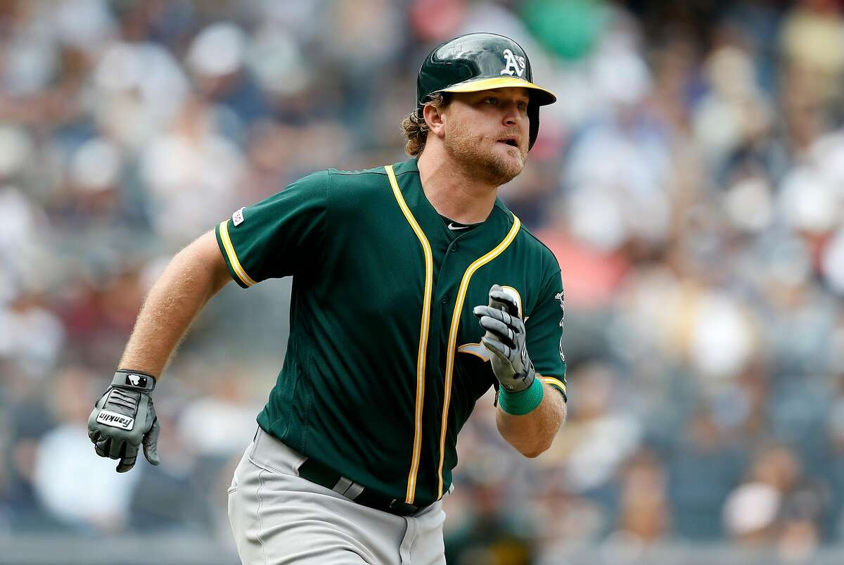 NEW YORK, NEW YORK - SEPTEMBER 01: Sheldon Neuse #64 of the Oakland Athletics runs the bases after his seventh inning two run double against the New York Yankees at Yankee Stadium on September 01, 2019 in New York City. The hit was the first in the major leagues for Neuse. (Photo by Jim McIsaac/Getty Images)