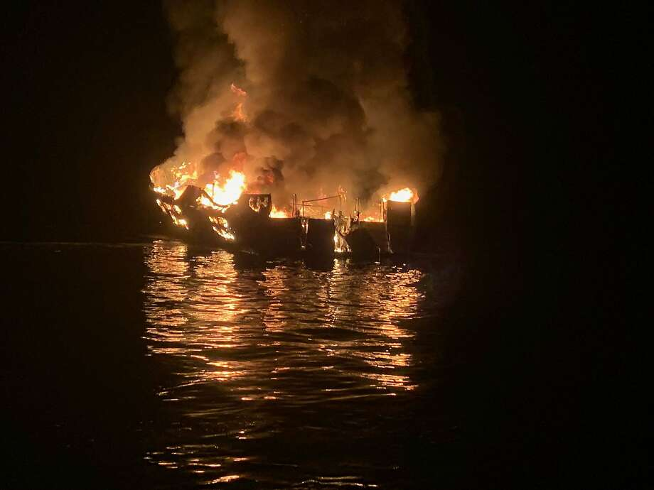In this handout provided by Santa Barbara County Fire Department, the 75-foot Conception, based in Santa Barbara Harbor, burns after catching fire early September 2, 2019 anchored off Santa Cruz Island, California. Thirty-four are missing, while five crew members were rescued, according to published reports.  (Photo by Santa Barbara County Fire Department via Getty Images) Photo: Handout, Getty Images