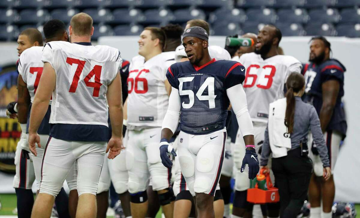 PHOTOS: Texans vs. Colts Newly acquired Houston Texans pass rusher Jacob Martin (54) during the Texans football practice at NRG Stadium, September 2, 2019, in Houston. >>>See more photos from the Texans' win Thursday night ...