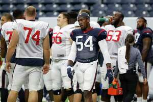 Newly acquired Houston Texans pass rusher Jacob Martin (54) during the Texans football practice at NRG Stadium, September 2, 2019, in Houston.