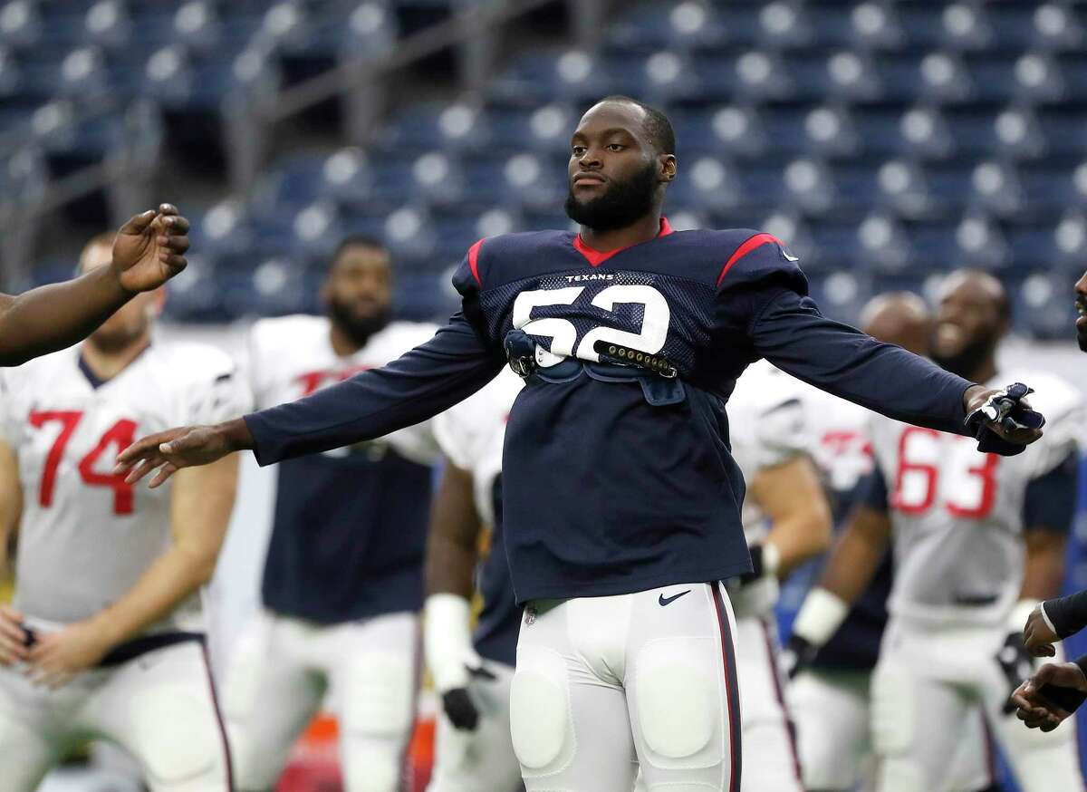 PHOTOS: Texans vs. Patriots  Newly acquired Houston Texans linebacker Barkevious Mingo (52) during the Texans football practice at NRG Stadium, September 2, 2019, in Houston. >>>See more photos from the Texans' win over the Patriots on Sunday night ...