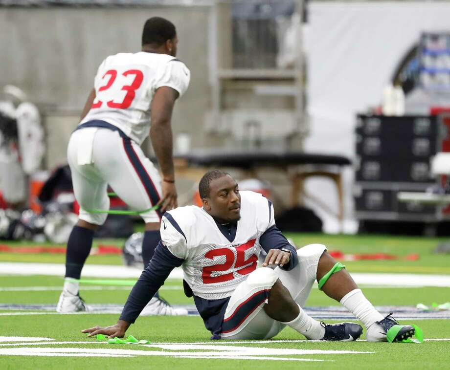 PHOTOS: Texans vs. Falcons  Newly acquired Houston Texans players running back Duke Johnson (25) and running back Carlos Hyde (23) stretch during the Texans football practice at NRG Stadium, September 2, 2019, in Houston.  >>>See more photos from the Texans' win over the Falcons on Sunday ...  Photo: Karen Warren, Houston Chronicle / @Houston Chronicle 2019