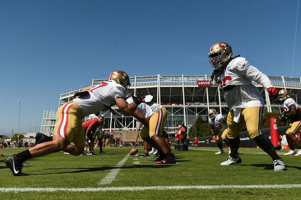SANTA CLARA, CA - JULY 30: San Francisco 49ers rookie defensive lineman Nick Bosa (97) and defensive lineman Sheldon Day (96) during San Francisco 49ers training camp at SAP Performance Facility on July 30, 2019 in Santa Clara, CA. (Photo by Cody Glenn/Icon Sportswire via Getty Images)