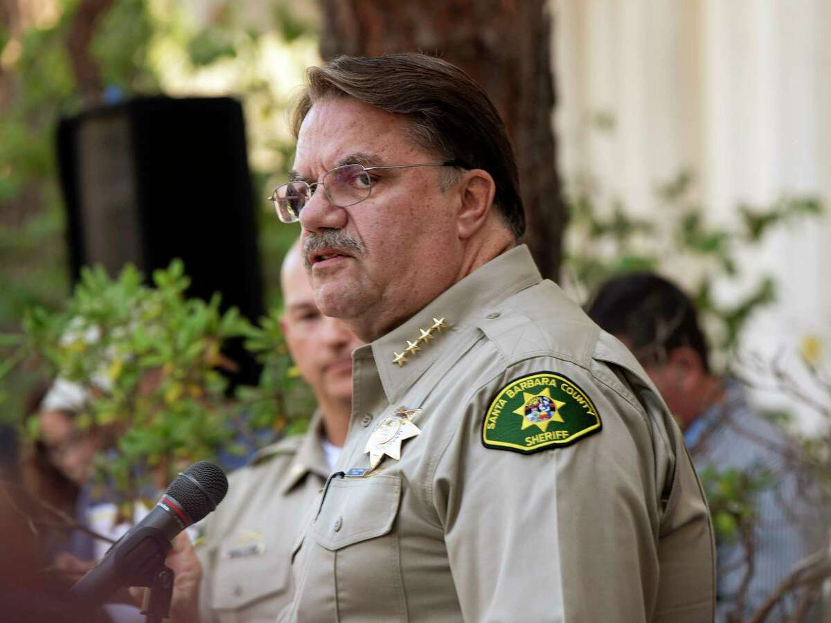 Santa Barbara County Sheriff Bill Brown, addresses the media outside the Santa Barbara County Sheriff's headquarters in Santa Barbara, Calif., Monday, Sept. 2, 2019. A fire raged through a boat carrying recreational scuba divers anchored near an island off the Southern California coast early Monday, leaving multiple people dead and hope diminishing that any of the more than two dozen people still missing would be found alive.