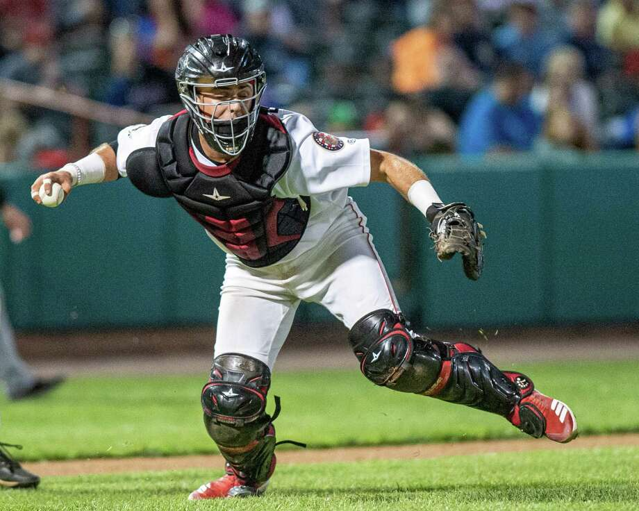 Tri-City ValleyCats catcher Nate Perry fields a ball in front of the plate during a game against the Hudson Valley Renegades at the Joseph L. Bruno Stadium in Troy NY on Friday, Aug. 23, 2019 (Jim Franco/Special to the Times Union.) Photo: James Franco / 40047207A